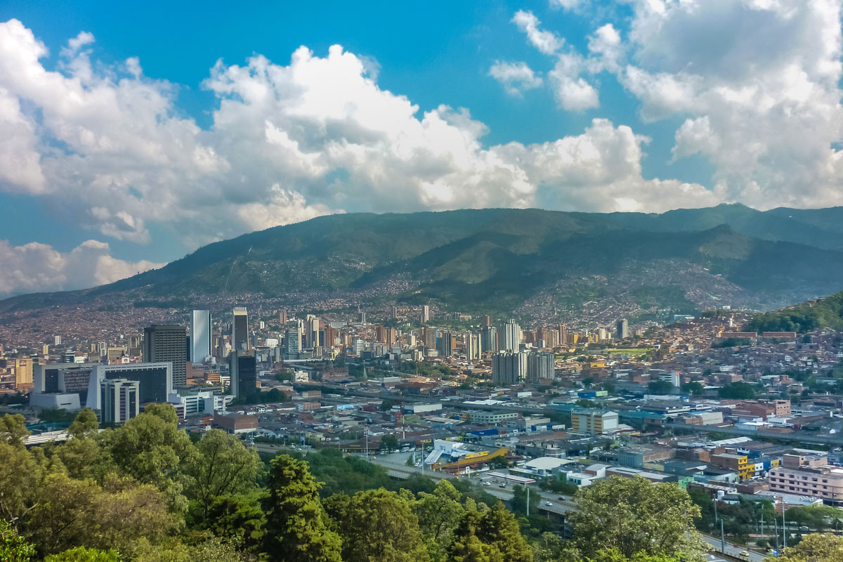 Aerial view from Nutibara Hill in Medellin