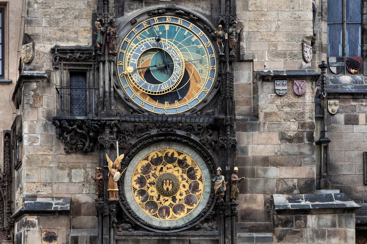 The famous Astronomical clock in Market Square, Prague