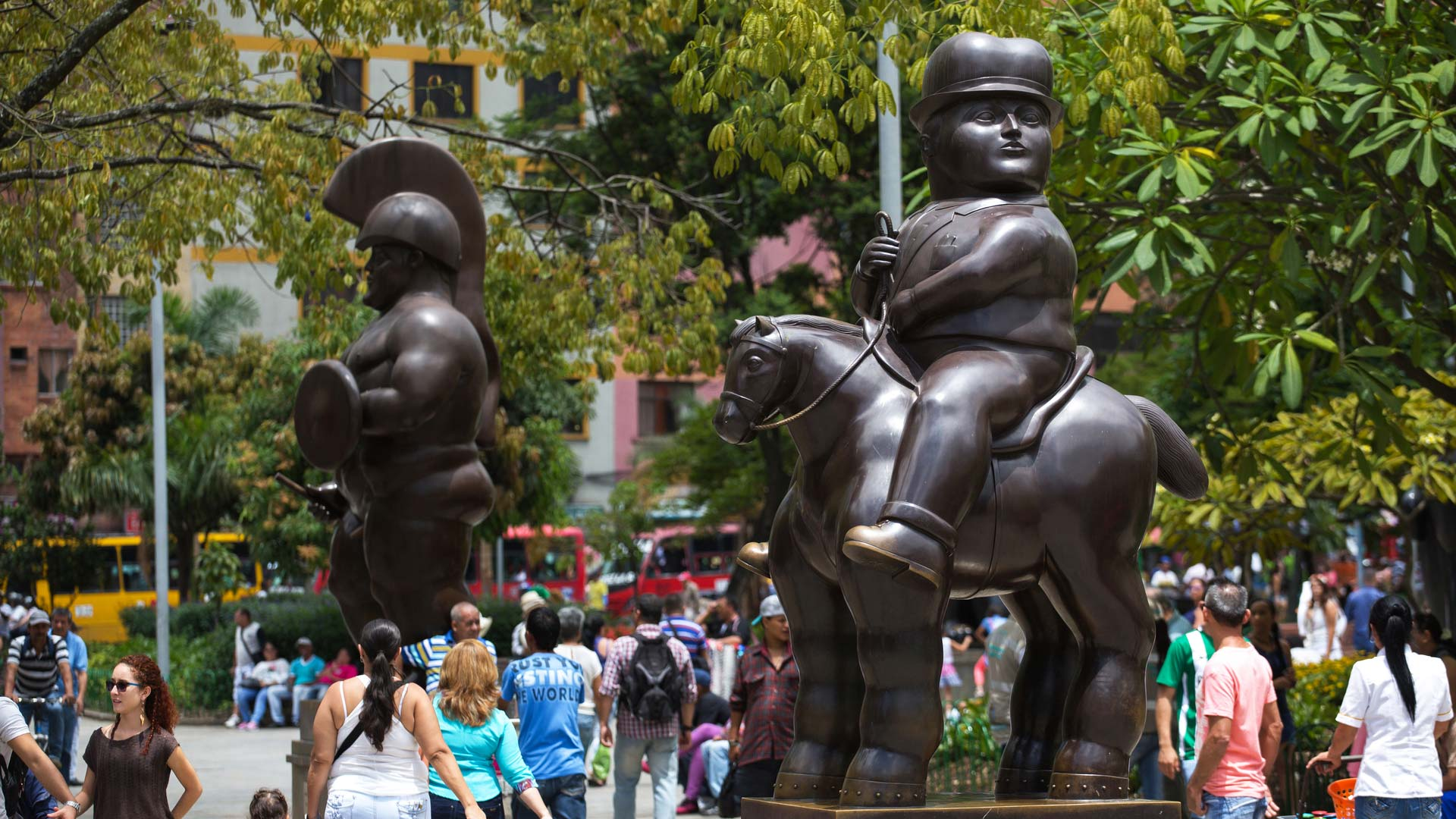 Botero Plaza sculptures by Fernando Botero, famous Colombian artist