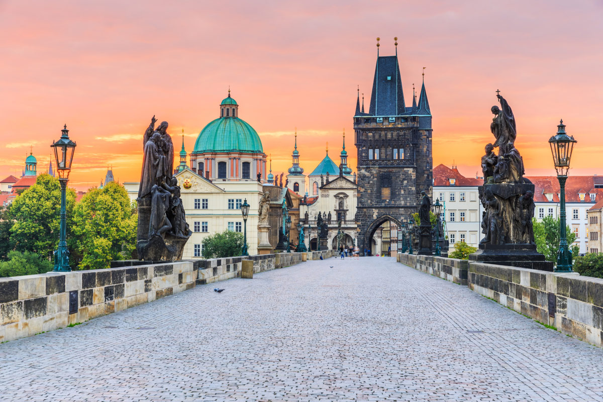 Famous Charles Bridge in Prague, Czech Republic