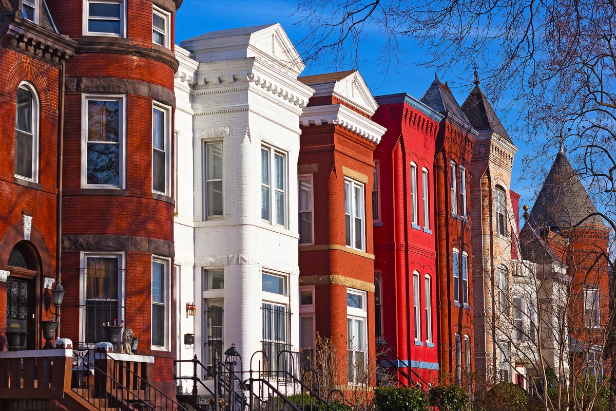 Colorful houses of Mount Vernon Square in Washington
