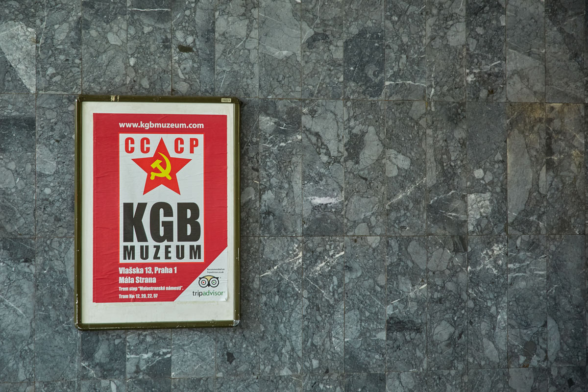 A sign signifying the KGB Museum in Czechia