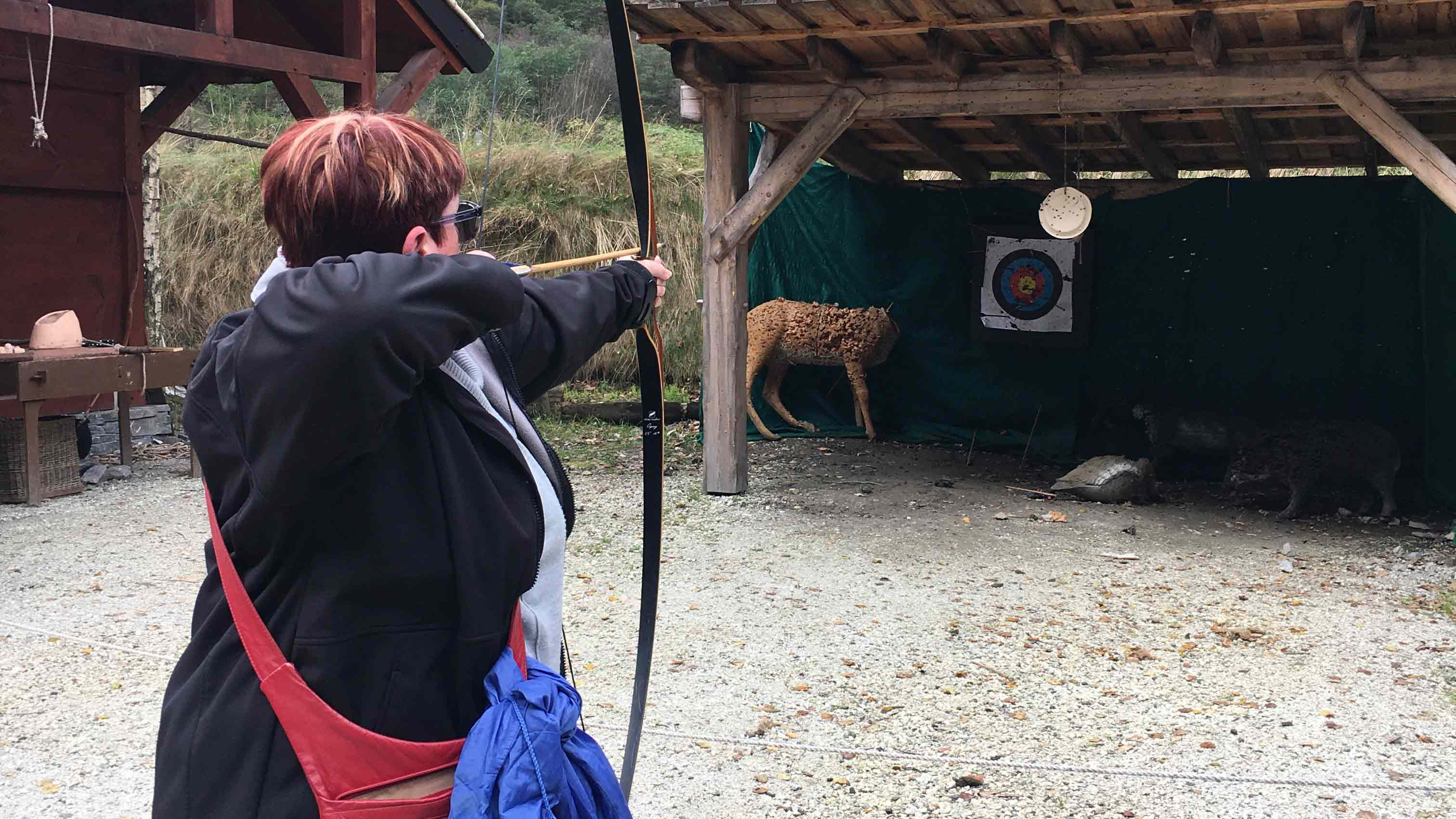 Showing off her archery skills