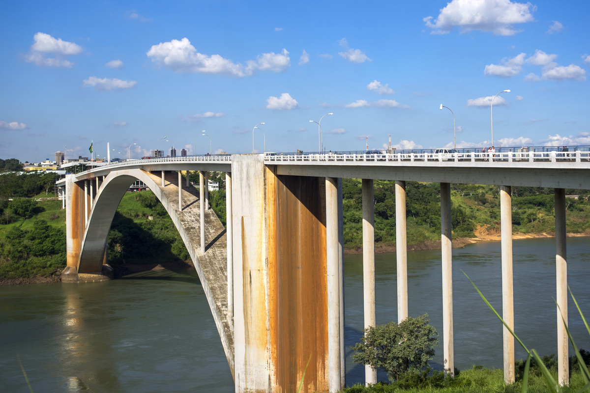 Friendship bridge over the Parana river in Paraguay