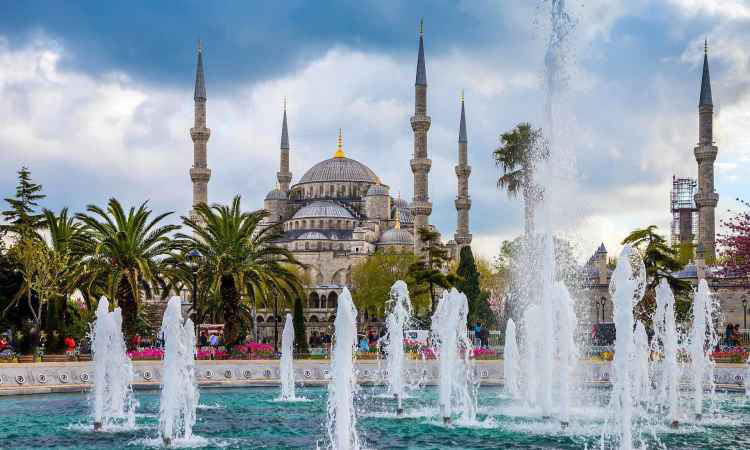 Fountains and Hagia Sophia in Istanbul, Turkey Black Friday
