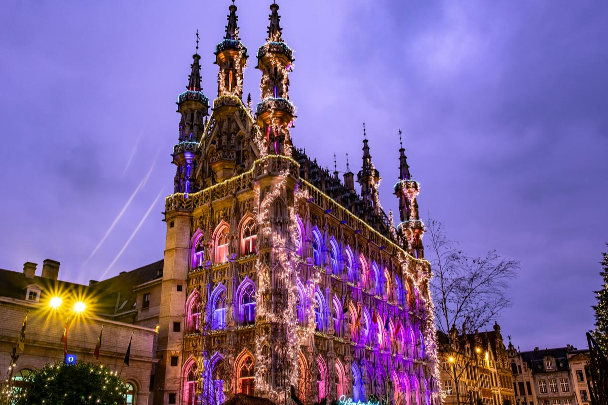 Leuven town hall at Christmas