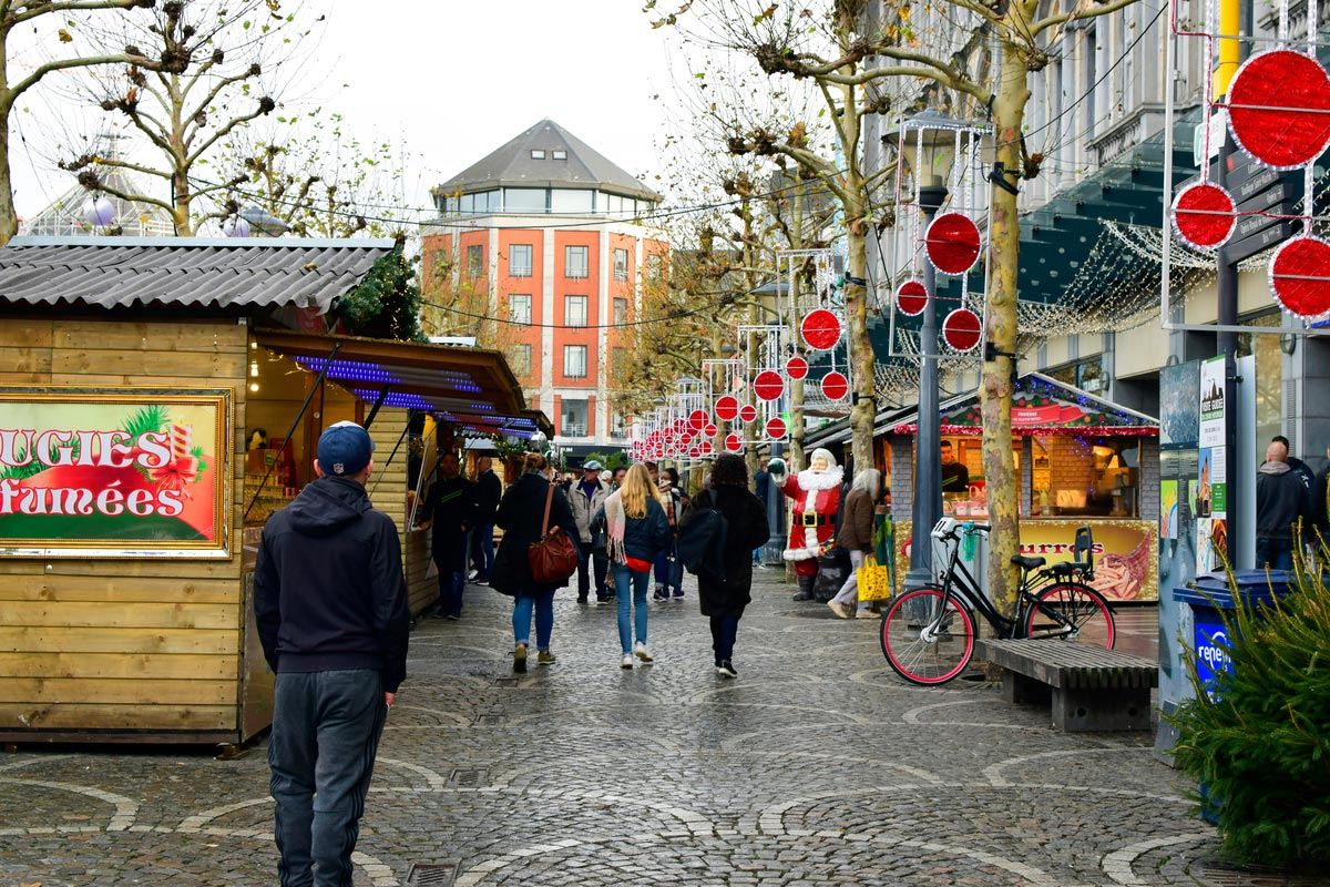Christmas market in Liege city centre