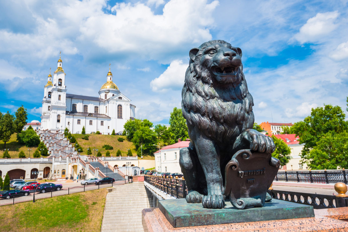 Bronze lion on Pushkin Bridge in Vitebsk, Belarus