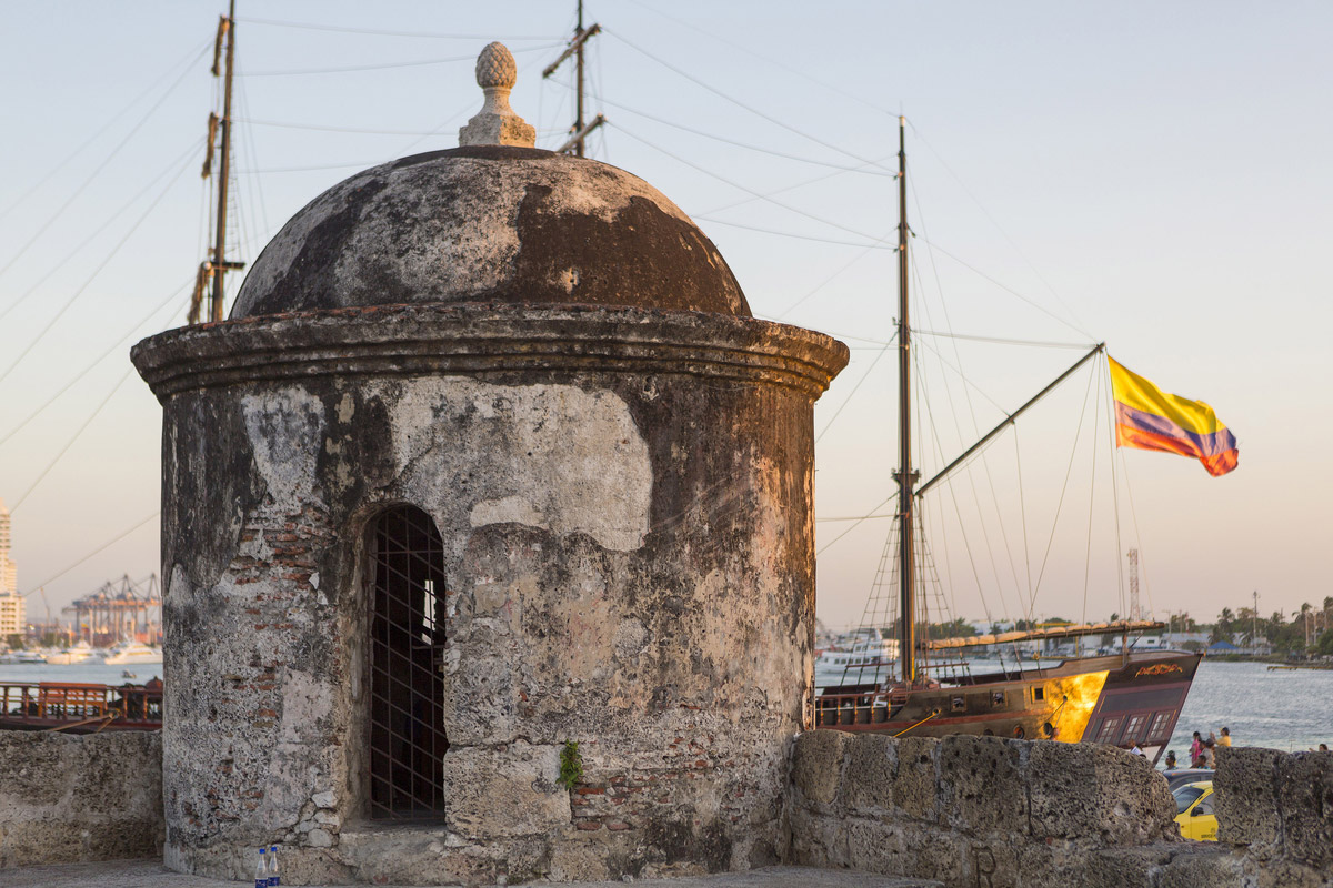 Defensive wall surrounding the old city of Cartagena