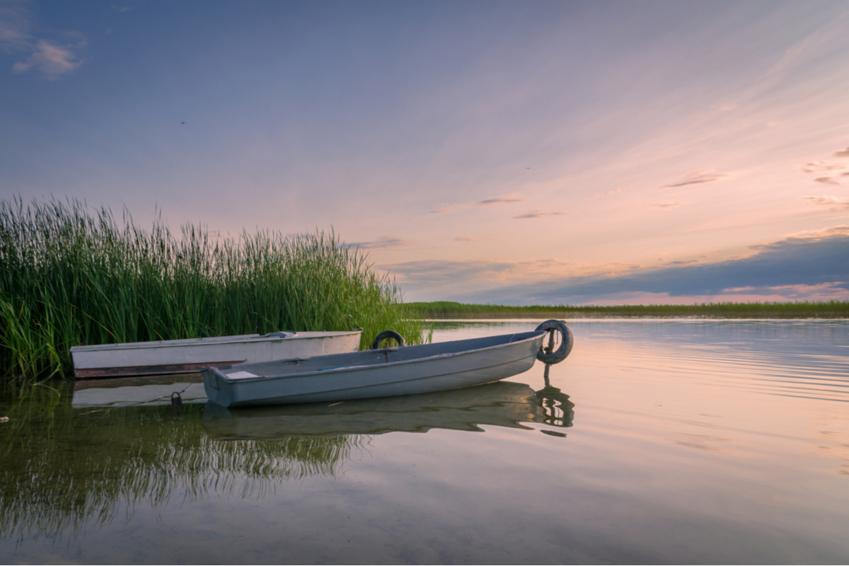 Fishing boats on Lake Naroch in Belarus