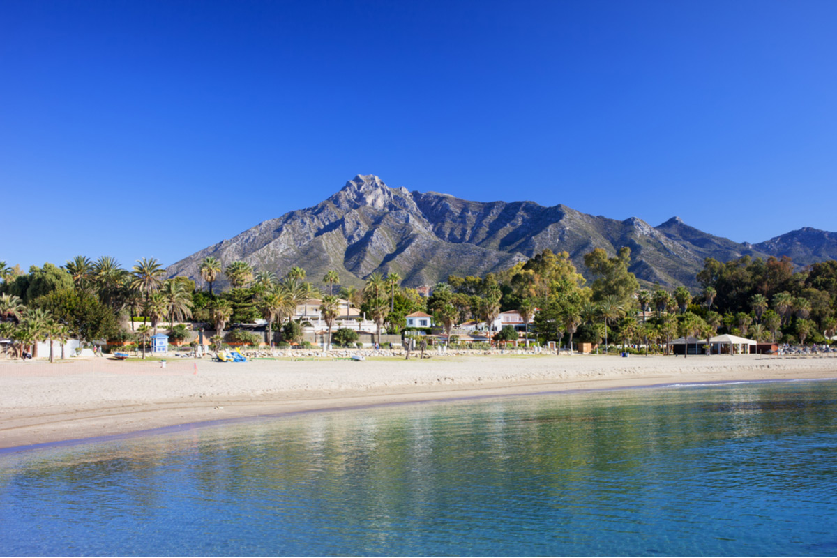 Sandy beach in Marbella, Spain