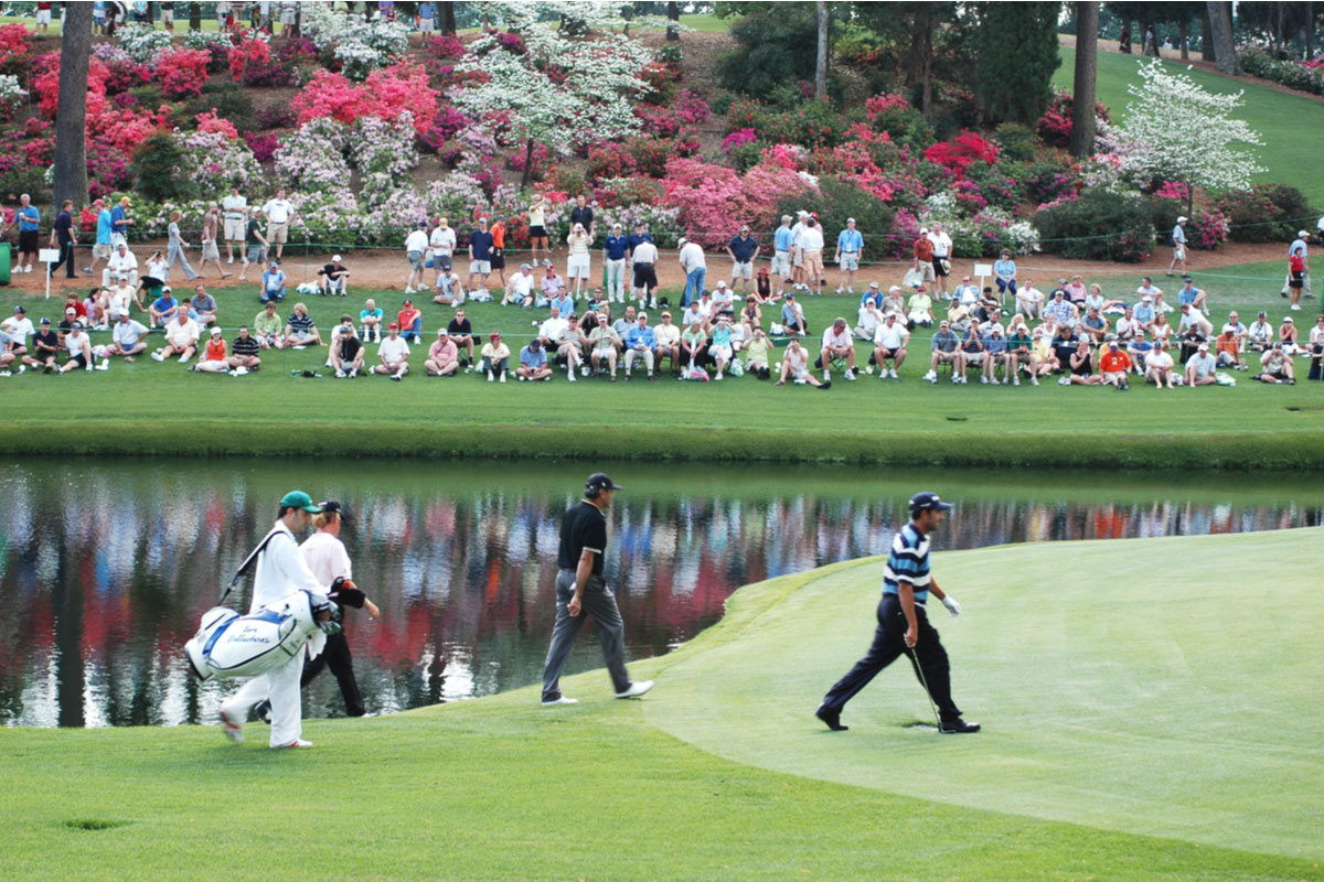 Masters, golfers and caddies at Augusta