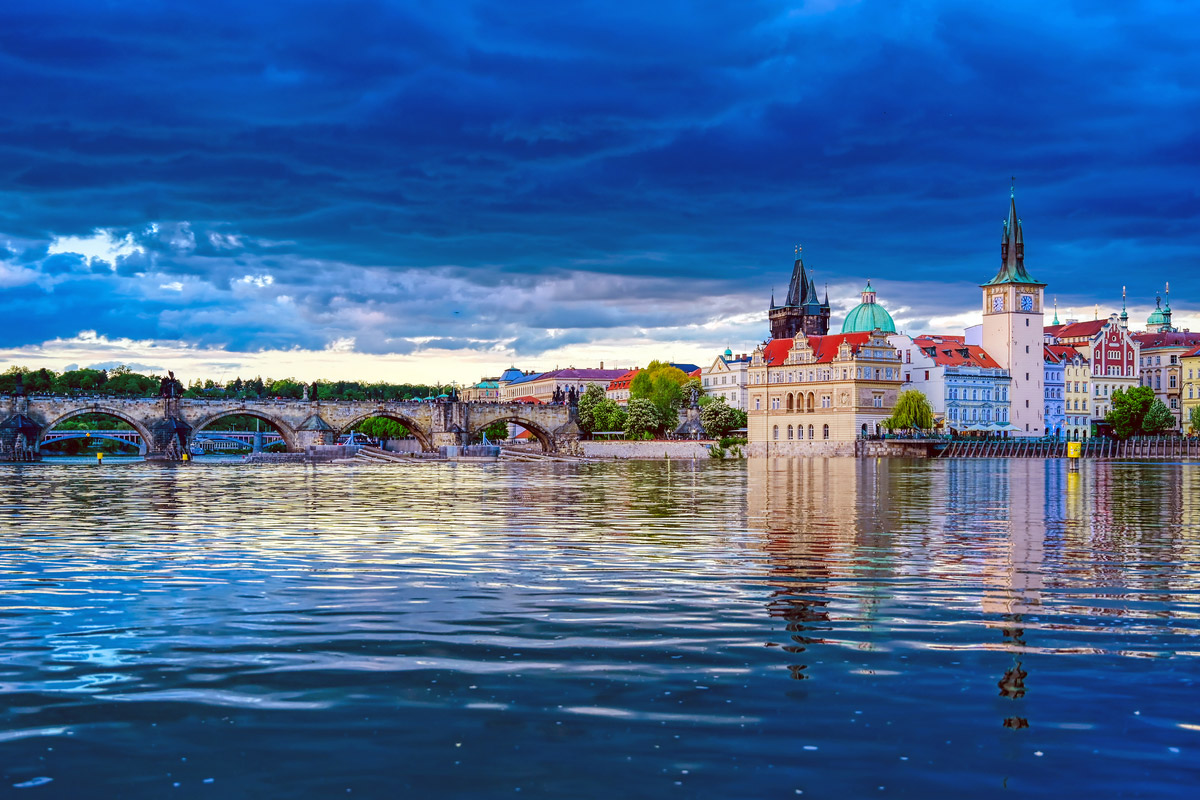 A view of Old Town Prague and the Charles Bridge across the Vltava River in Prague