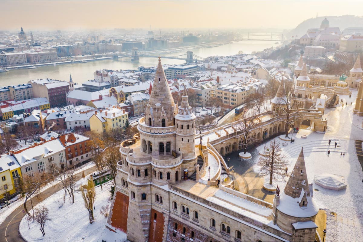 Aerial view of the snowy Fisherman's Bastion