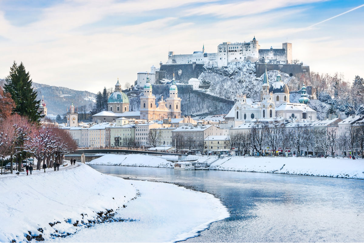 Beautiful view of Salzburg skyline with Festung Hohensalzburg and Salzach in winter