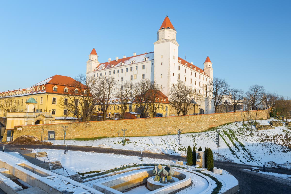 Bratislava - The castle in winter light.