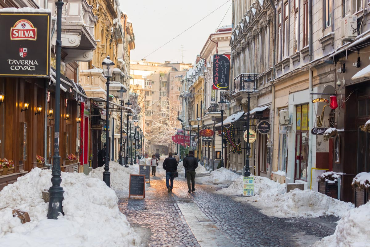Covaci street in Bucharest old town in winter season
