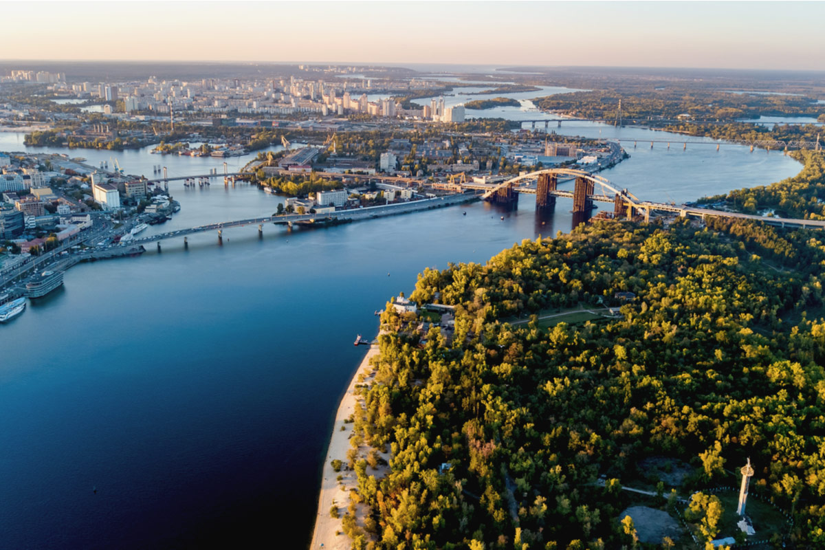 Dnieper river and Truchaniv island from above reasons to visit Kiev