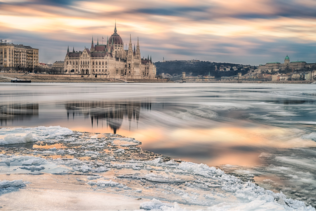 Drifting ice in the Danube river at Parliament in Winter.