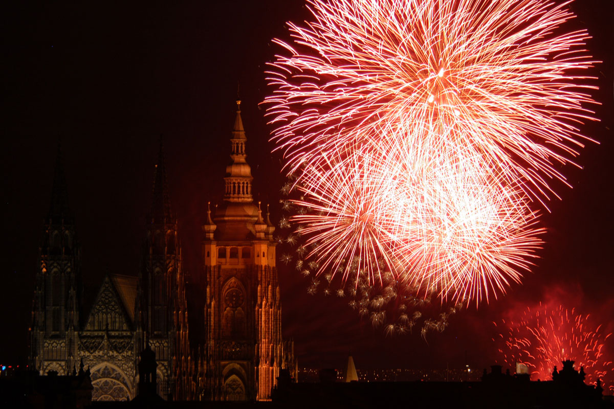 Fireworks illuminate the sky over St Vitus Cathedral at the Prague Castle
