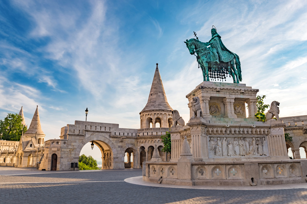 Fisherman Bastion and statue of Stephen I