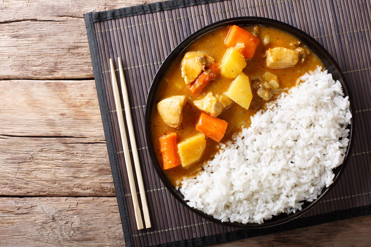 Japanese curry rice with meat, carrot and potato