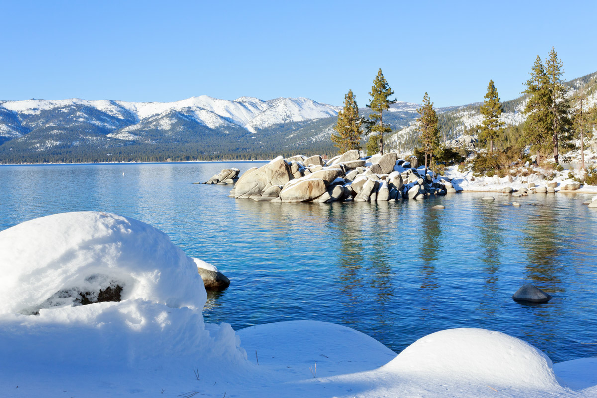 Lake Tahoe on a sunny winter day.
