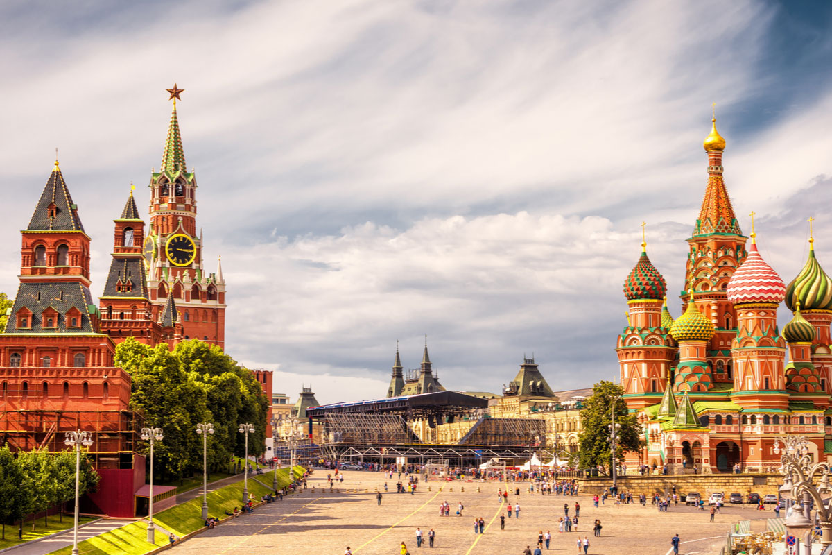 Moscow Kremlin and of St Basil's Cathedral on Red Square, Moscow, Russia