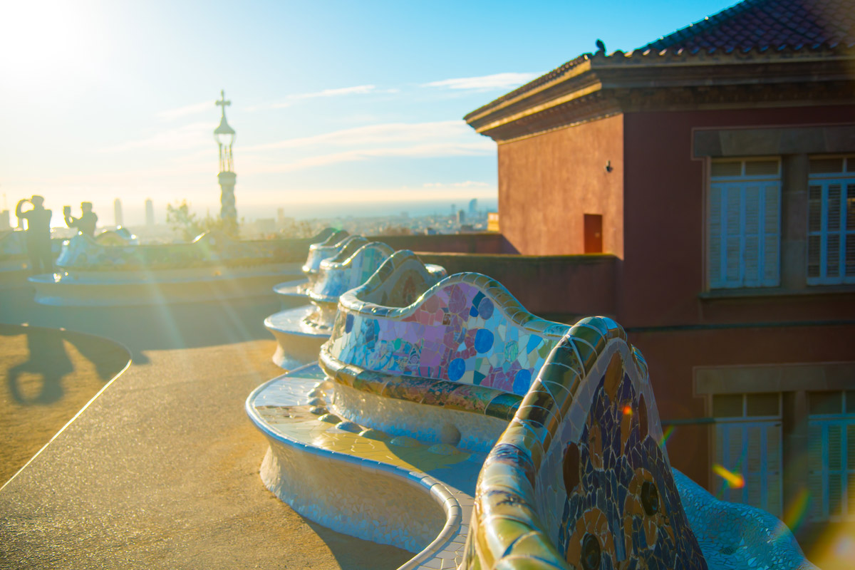 Parc Guell designed by Antoni Gaudi located in Barcelona