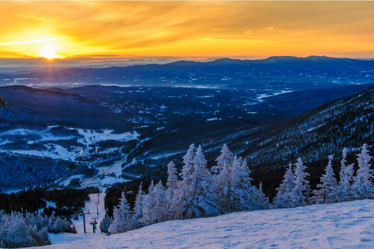 Sunrise from the top of Mt. Mansfield in the winter, Stowe, Vermont