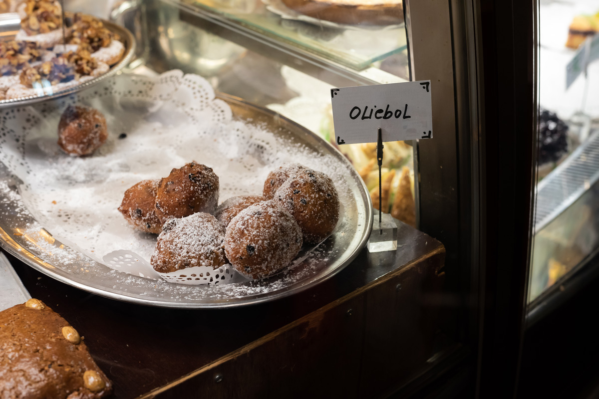 Traditional Dutch oliebollen in Amsterdam