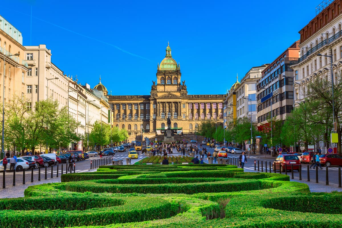 Wenceslas square and National Museum in Prague