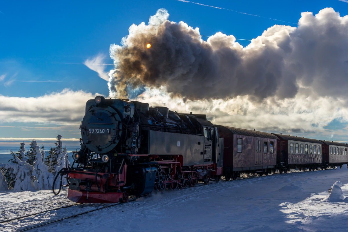 Winter landscape with a wonderful train