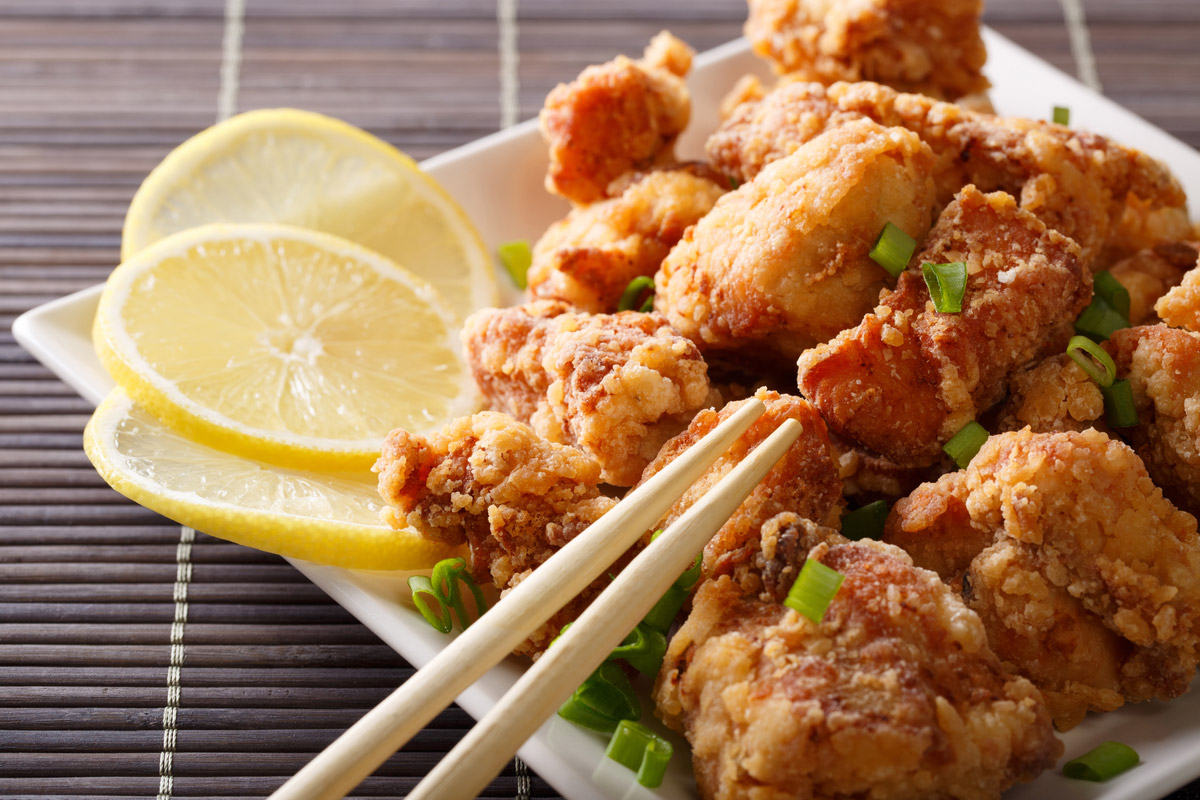Fried chicken karaage with a lemon