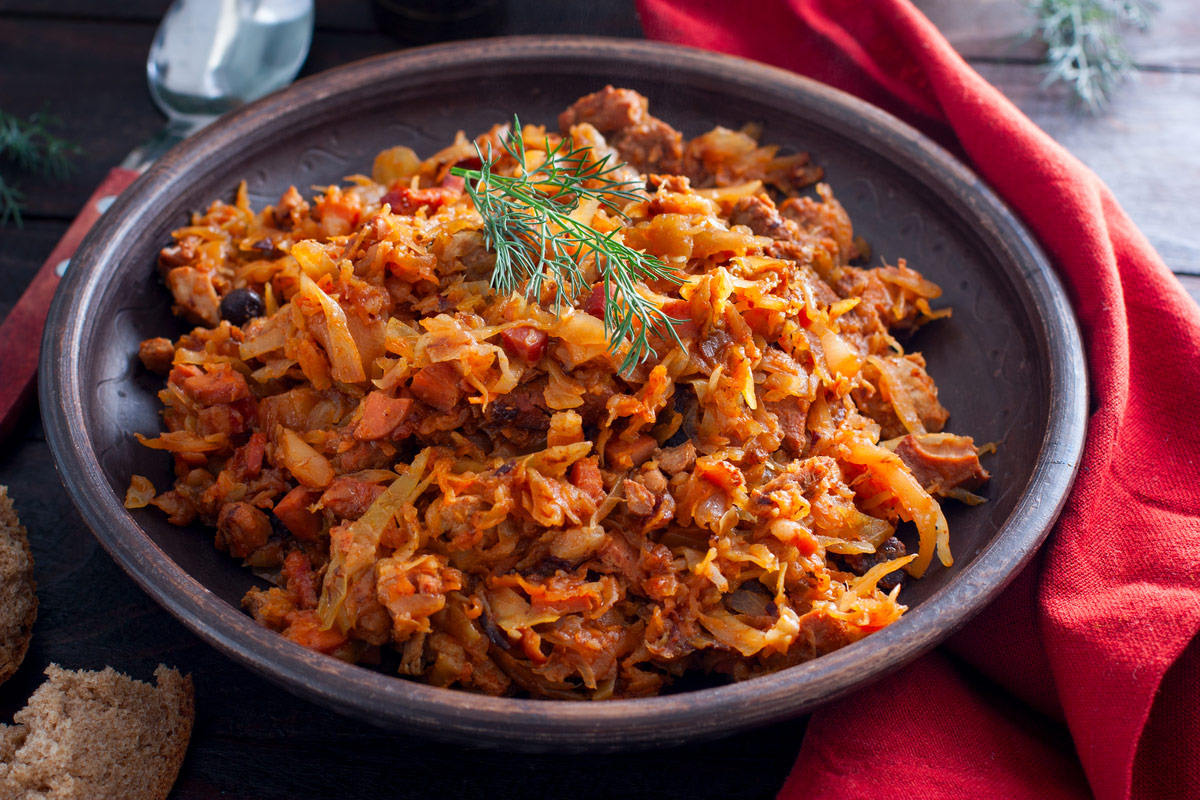 Bigos, a traditional Polish dish with cabbage