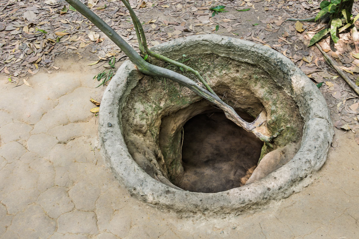 Entrance of a tunnel - Cu Chi Tunnels, Vietnam