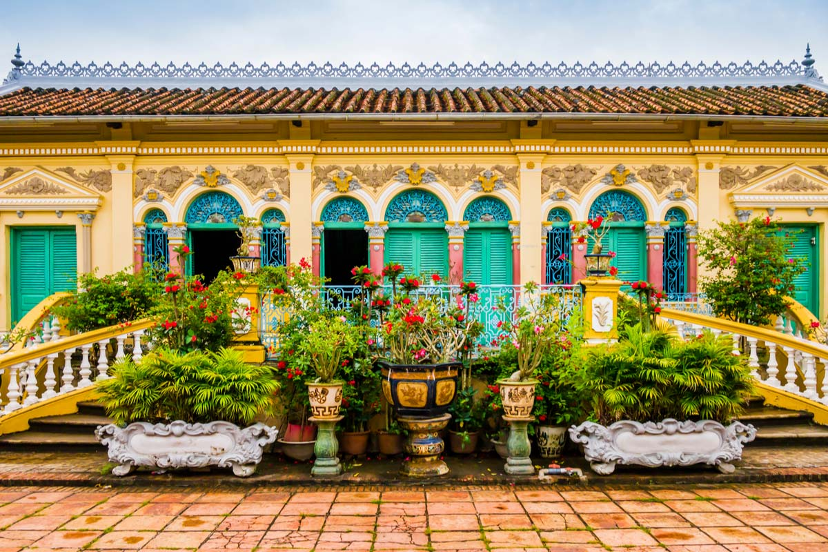 Facade of Binh Thuy ancient house in french colonial style, Can Tho