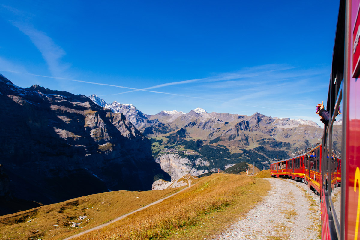 Red Jungfrau railway train from Kleine Scheidegg station climbing to Jungfraujoch