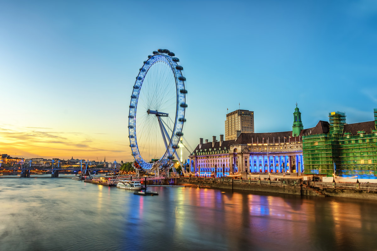 The London Eye on the South Bank of the River Thames