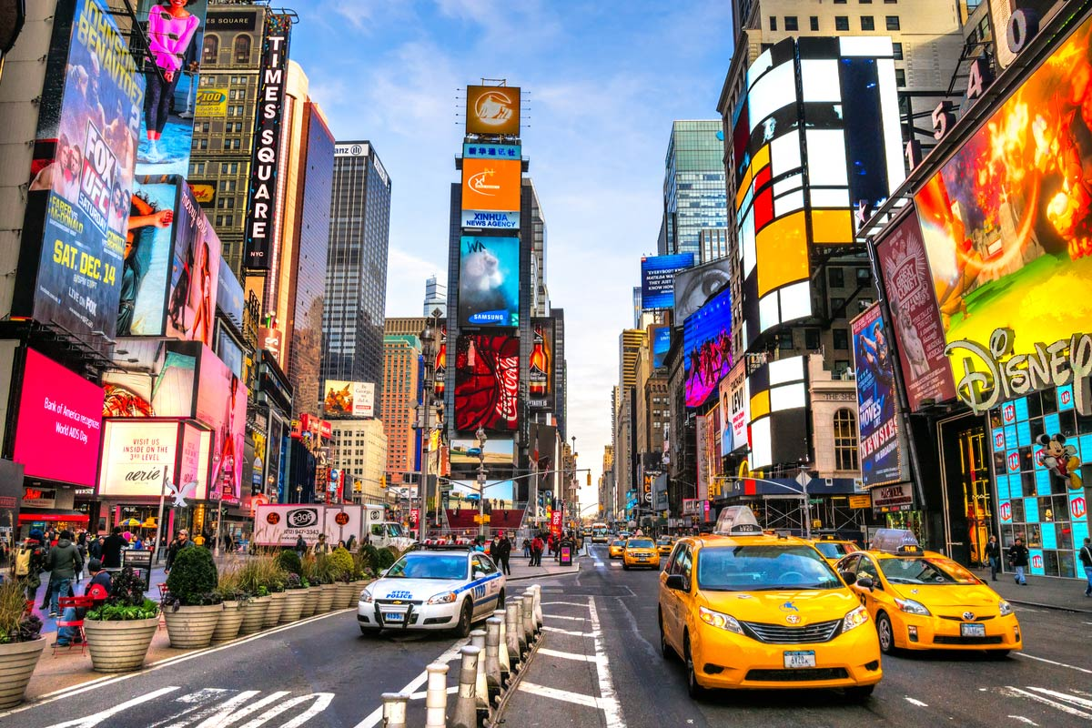 Times Square, a busy tourist intersection and an iconic street of New York City