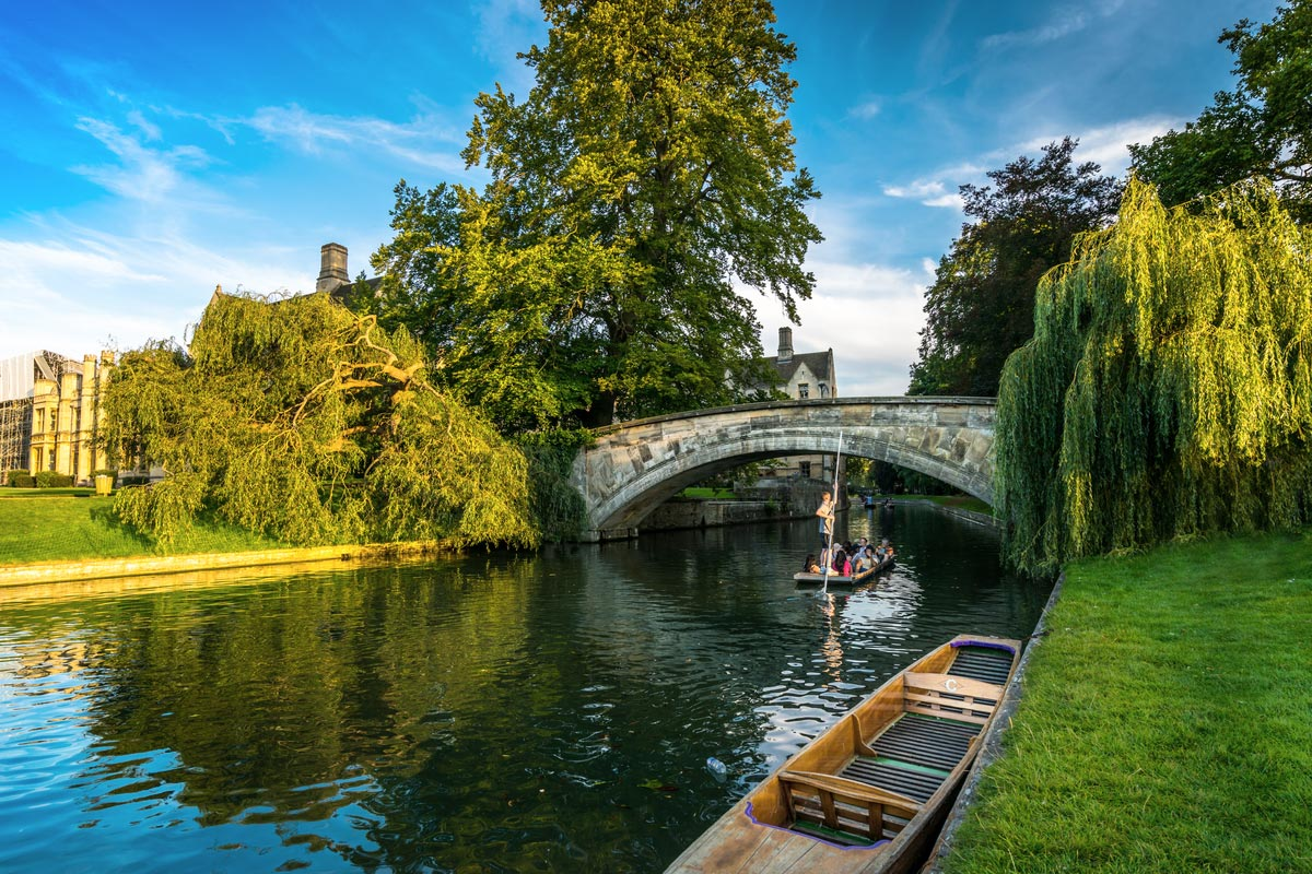 Tourists on punt trip along River Cam near Kings College in the city of Cambridge