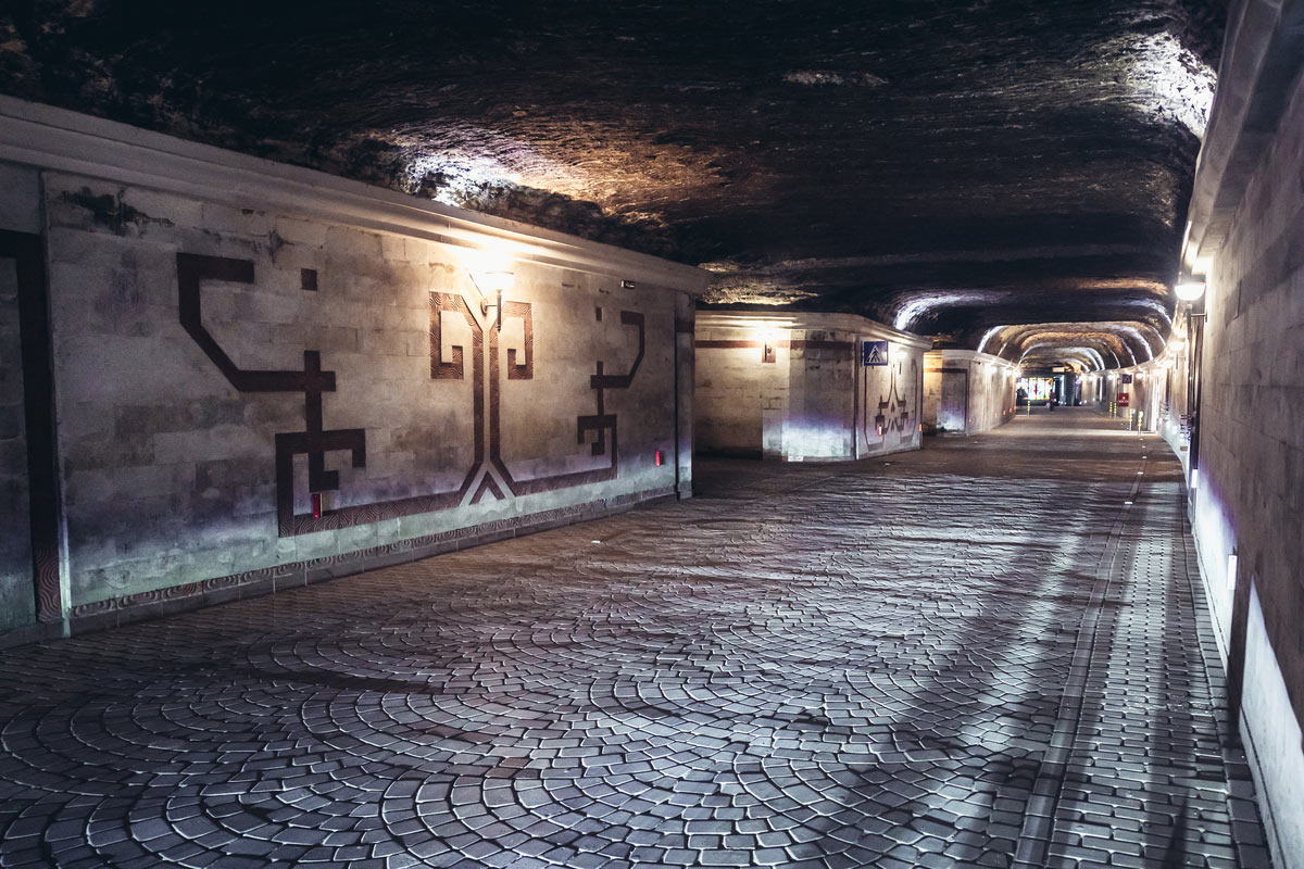 Underground city in large winery in Cricova town