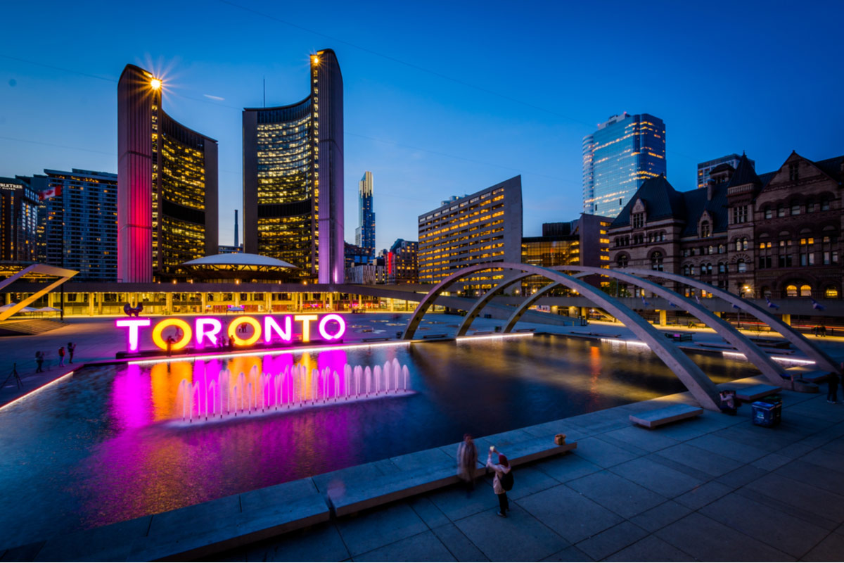 View of Nathan Phillips Square and Toronto Sign in downtown Toronto