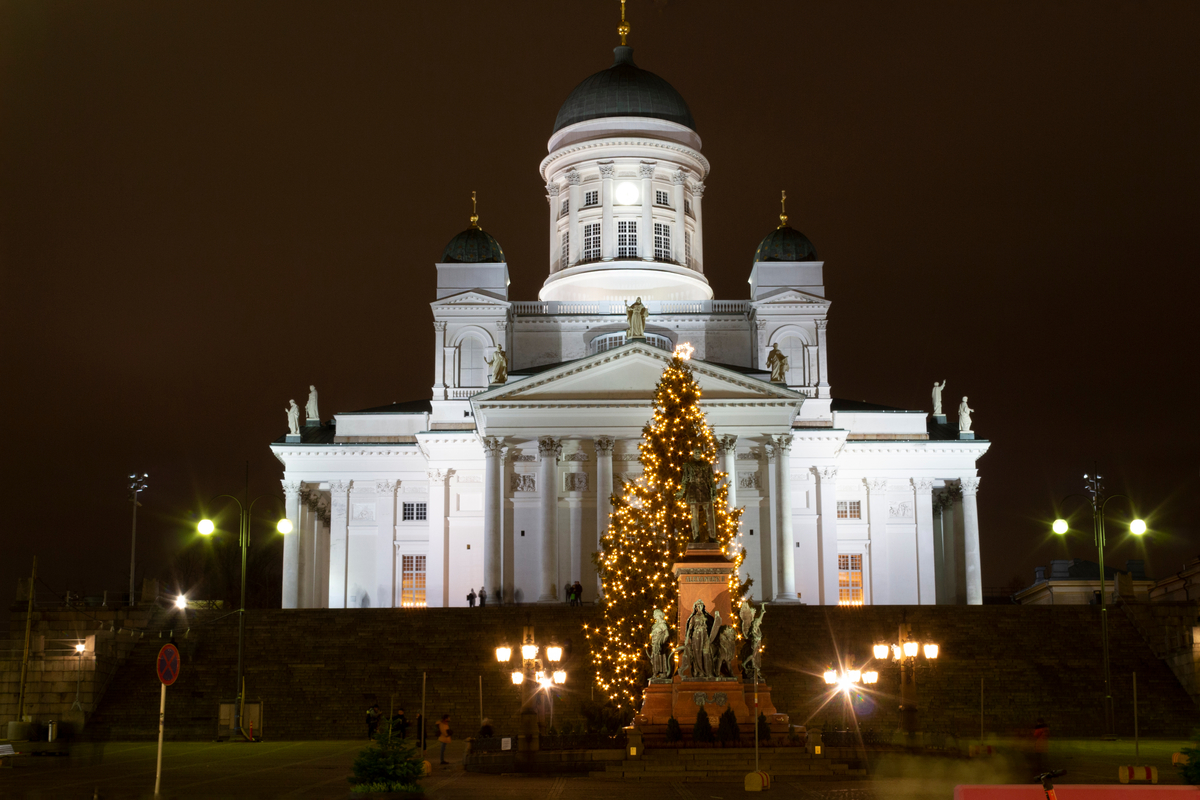 Helsinki Cathedral at Christmas Older Couples