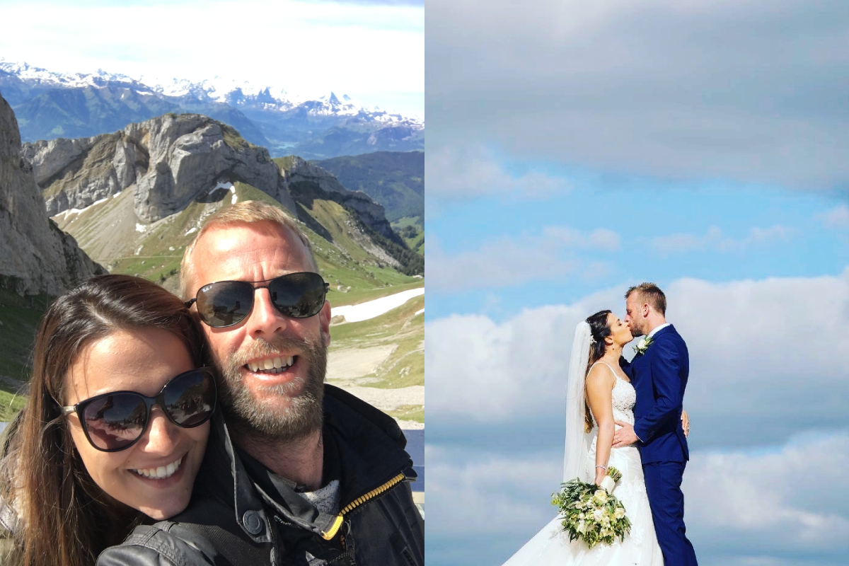 Couple selfie and wedding photo travel friendships