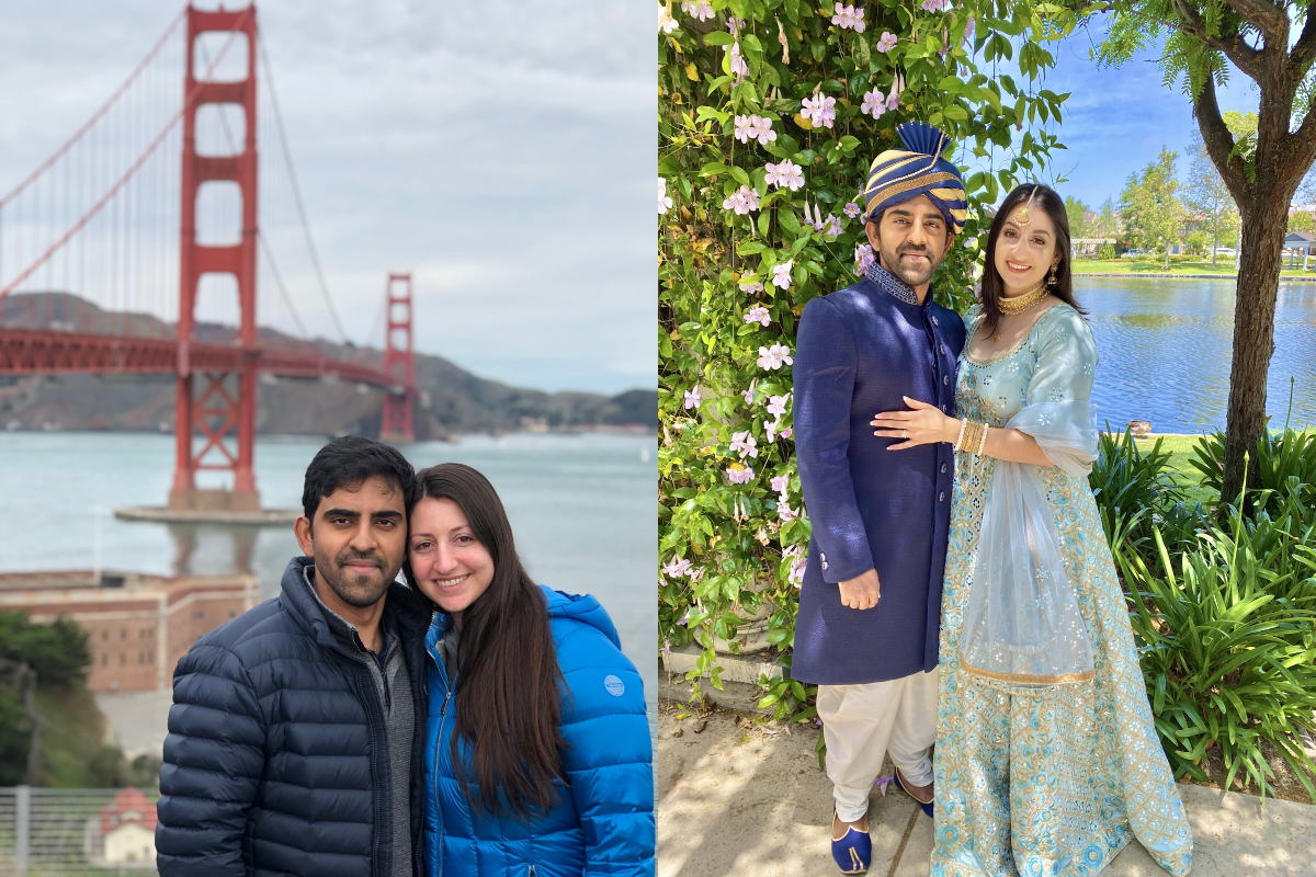Couple sightseeing and on their wedding day travel friendships
