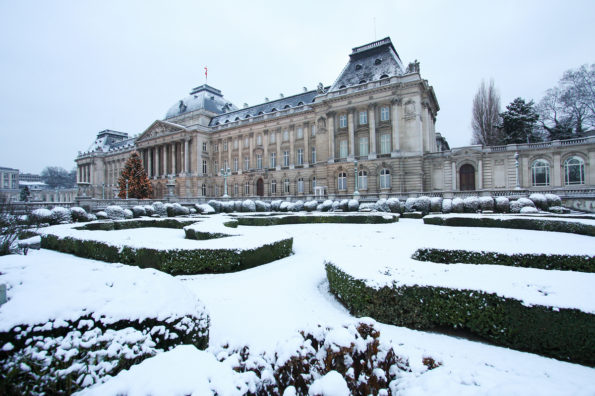 Brussels Royal Palace in winter snow