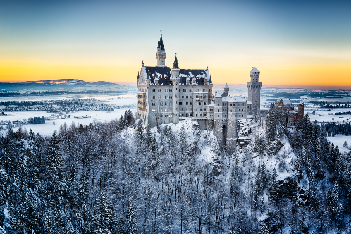 Neuschwanstein Castle Germany and winter landscape with snow