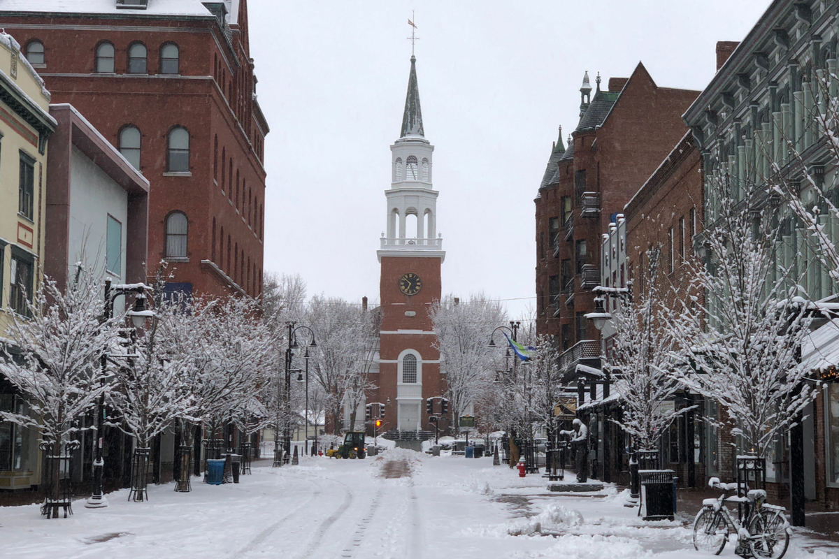 Burlington Vermont New England Town in snow