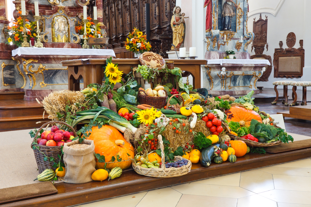 Chruch alter decorated for Erntedankfest Germany thanksgiving